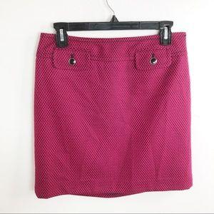 LOFT Pink Black Print Mini Skirt 4 Petite